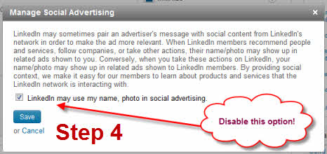 A screenshot instructing you to disable the option to allow LinkedIn to use your name and photo in social advertising