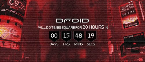 An image of the countdown to Droid taking over Times Square